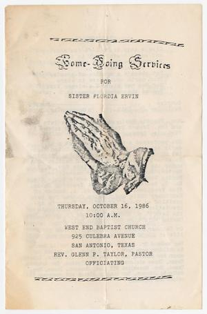 Primary view of object titled '[Funeral Program for Flordia Ervin, October 16, 1986]'.