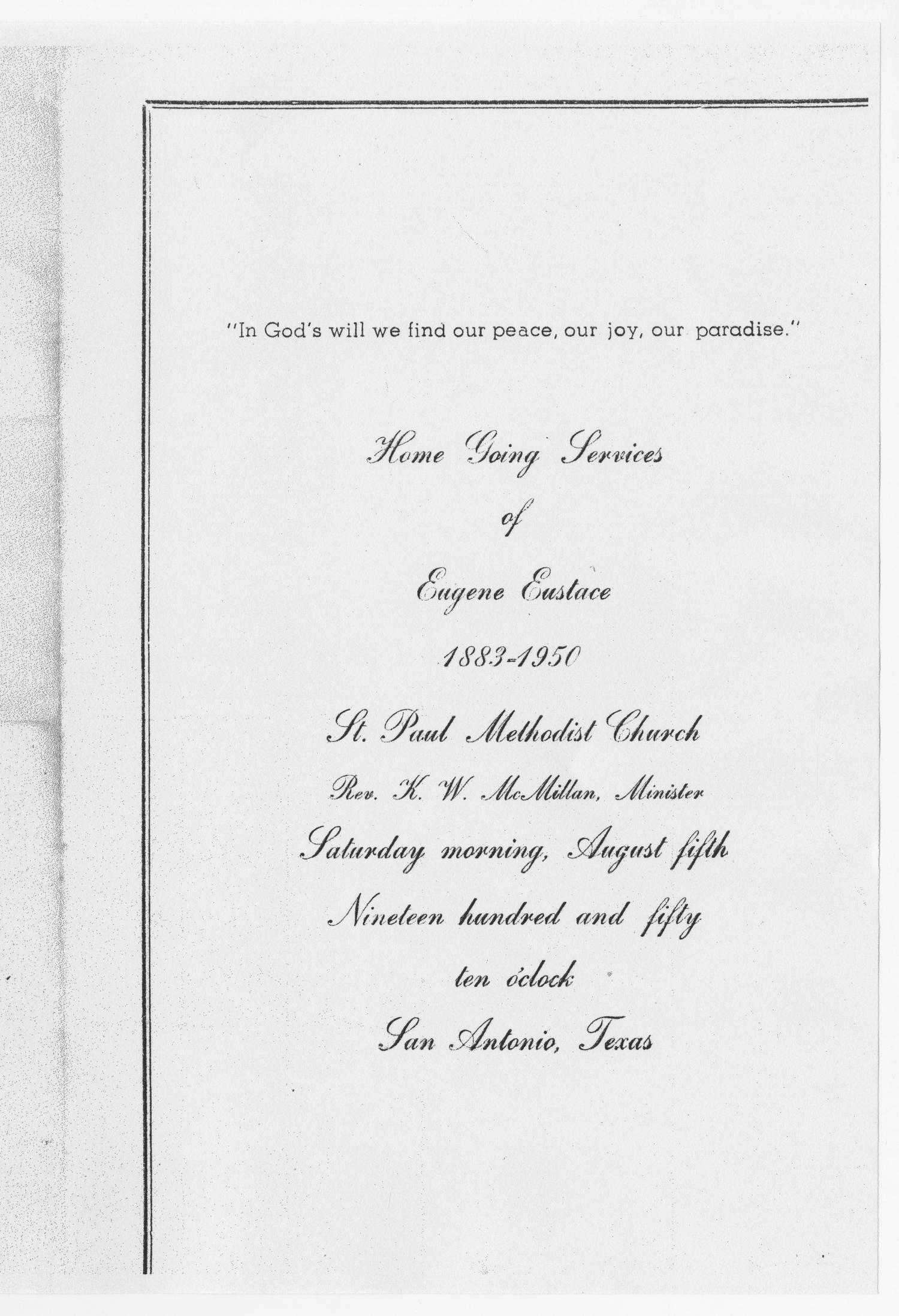 [Funeral Program for Eugene Eustace, August 5, 1950]                                                                                                      [Sequence #]: 1 of 3