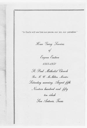 Primary view of object titled '[Funeral Program for Eugene Eustace, August 5, 1950]'.