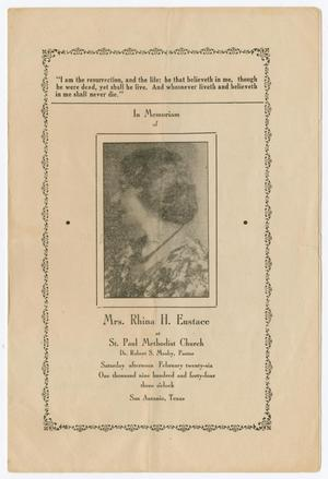 Primary view of object titled '[Funeral Program for Rhina H. Eustace, February 26, 1944]'.