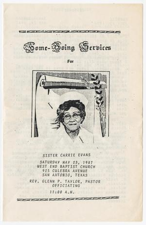 [Funeral Program for Carrie Evans, May 23, 1987]