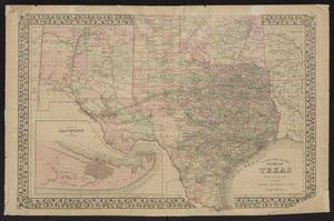 Primary view of object titled 'County map of the state of Texas : showing also portions of the adjoining states and territories / drawn and engraved by W.H. Gamble.'.