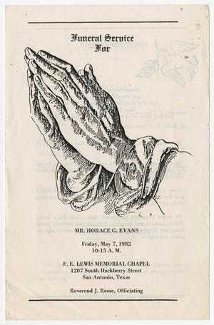 Primary view of object titled '[Funeral Program for Horace G. Evans, May 7, 1982]'.