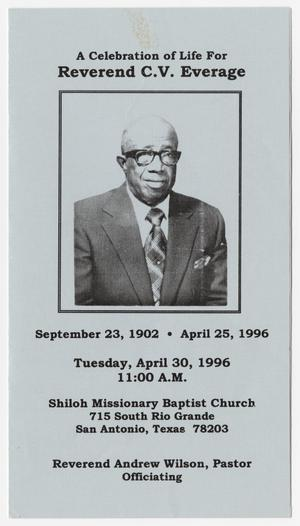 [Funeral Program for C. V. Everage, April 30, 1996]