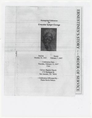 Primary view of object titled '[Funeral Program for Ernestine Kemper Everage, February 15, 2007]'.