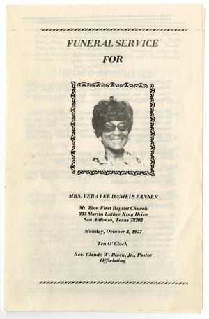 Primary view of object titled '[Funeral Program for Vera Lee Daniels Fanner, October 3, 1977]'.