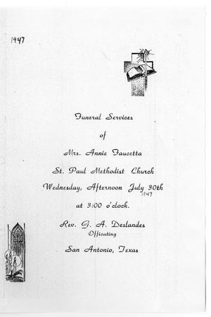 Primary view of object titled '[Funeral Program for Annie Faucetta, July 30, 1947]'.