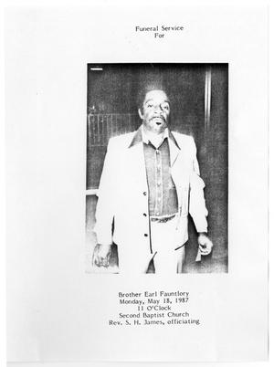 [Funeral Program for Earl Fauntlory, May 18, 1987]