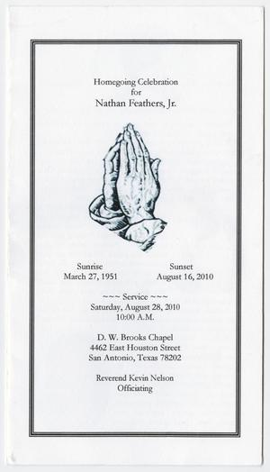 [Funeral Program for Nathan Feathers, Jr., August 28, 2010]