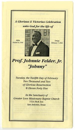 Primary view of object titled '[Funeral Program for Johnnie Felder, Jr., February 12, 2002]'.