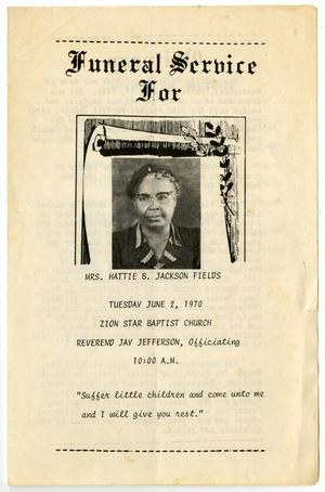 Primary view of object titled '[Funeral Program for Hattie B.Jackson Fields, June 2, 1970]'.