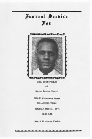 Primary view of object titled '[Funeral Program for John Fields, March 1, 1975]'.