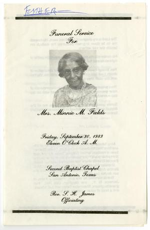 Primary view of object titled '[Funeral Program for Minnie M. Fields, September 30, 1983]'.