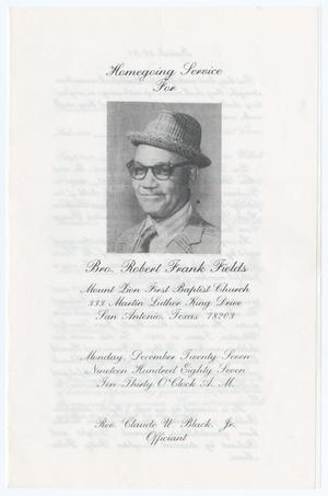 Primary view of object titled '[Funeral Program for Robert Frank Fields, December 27, 1987]'.