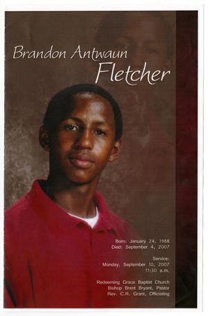 Primary view of object titled '[Funeral Program for Brandon Antwaun Fletcher, September 10, 2007]'.