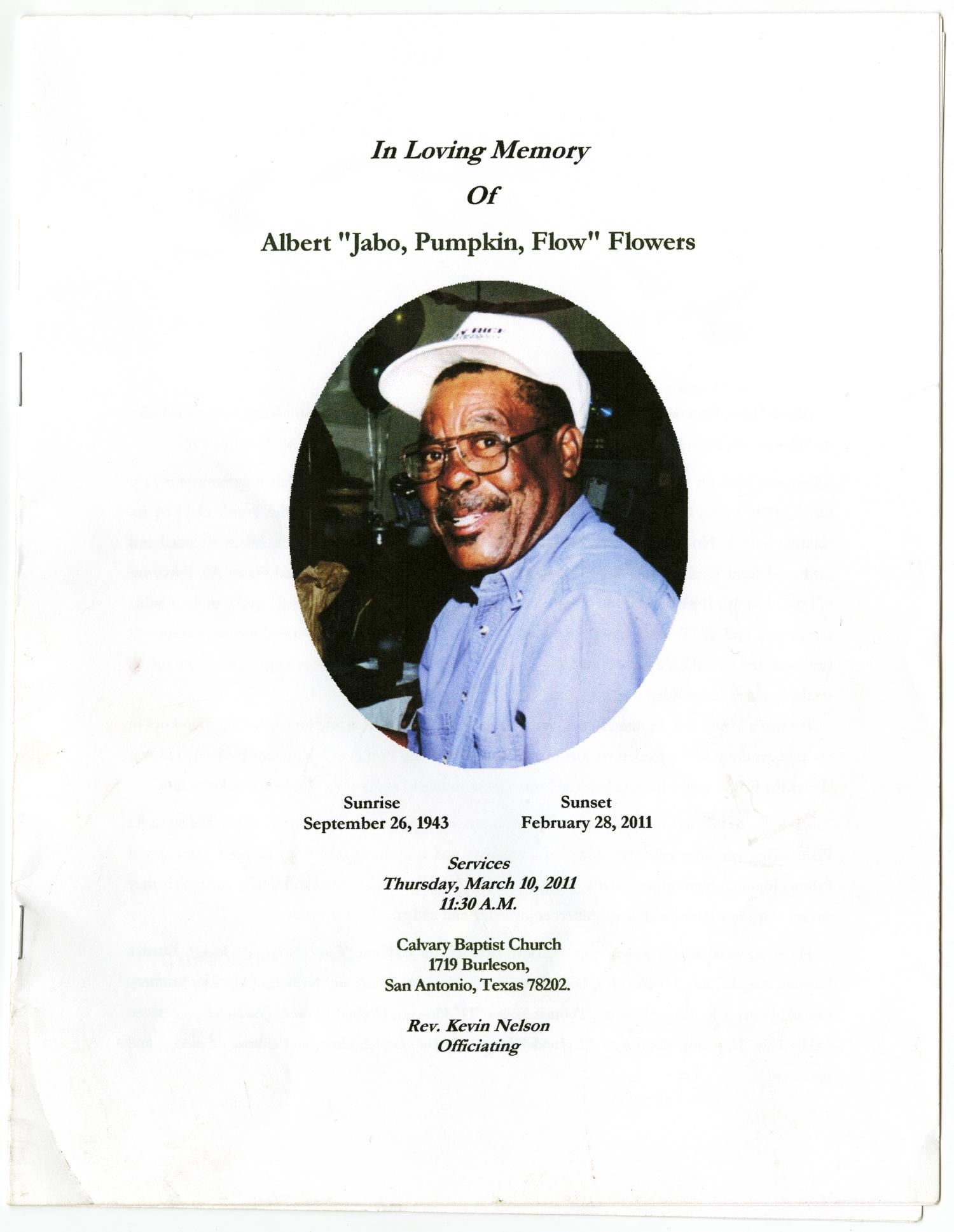 [Funeral Program for Albert Flowers, March 10, 2011]                                                                                                      [Sequence #]: 1 of 8