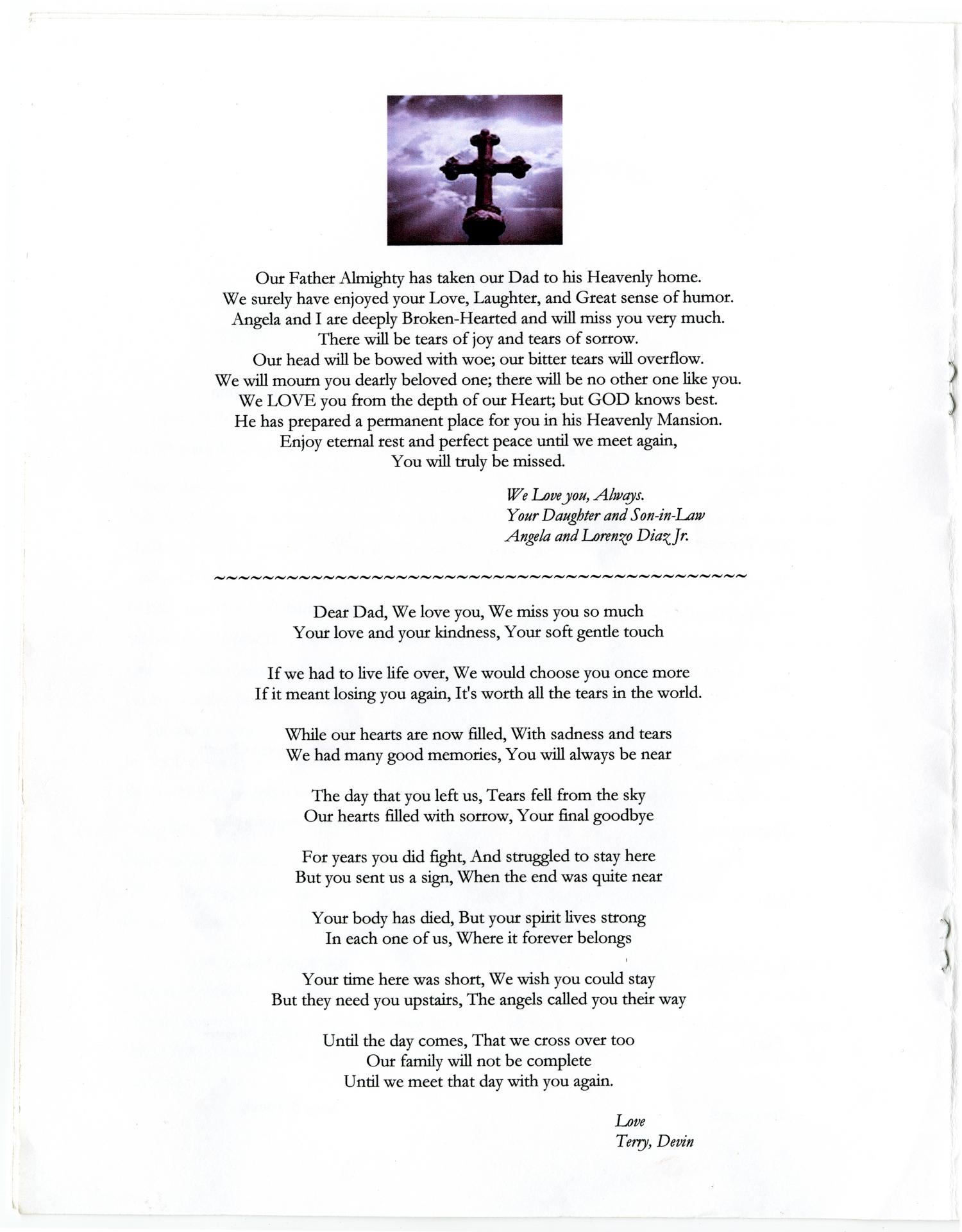 [Funeral Program for Albert Flowers, March 10, 2011]                                                                                                      [Sequence #]: 4 of 8