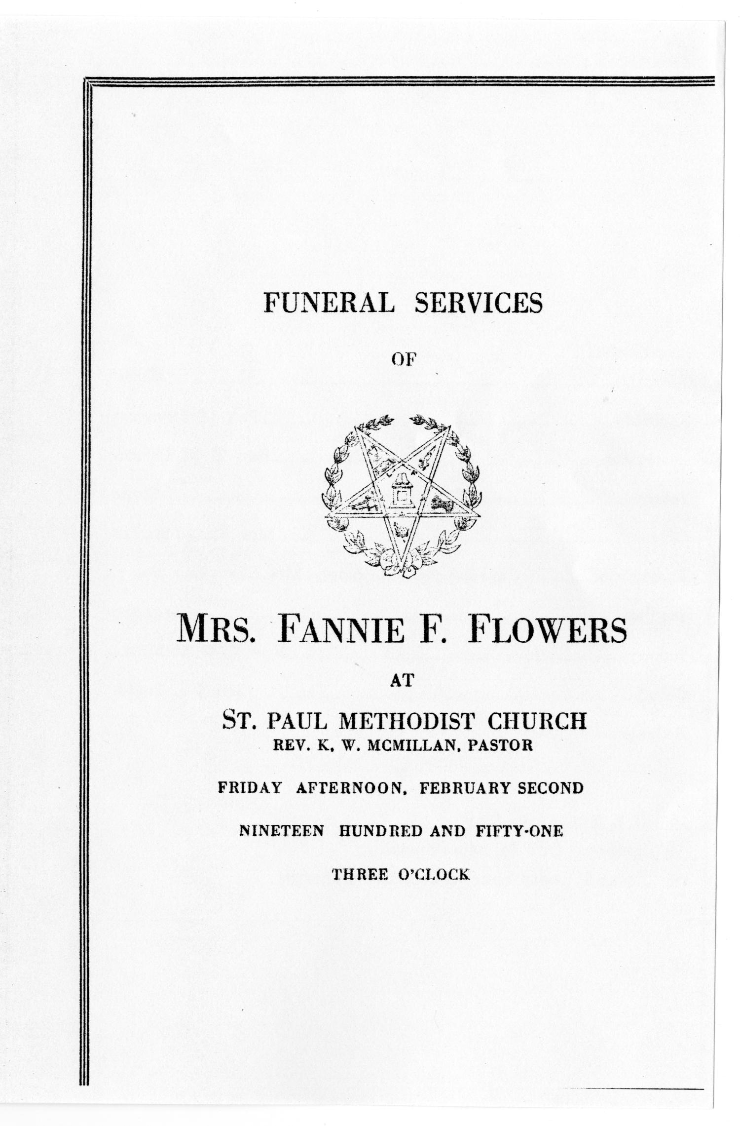 [Funeral Program for Fannie F. Flowers, February 2, 1951]                                                                                                      [Sequence #]: 1 of 3