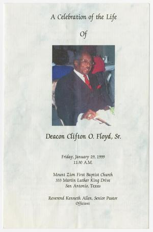 Primary view of object titled '[Funeral Program for Deacon Clifton O. Floyd, Sr., January 29, 1999]'.