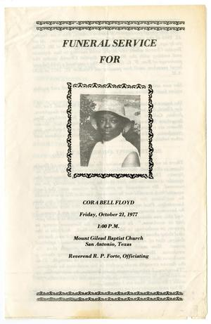 Primary view of object titled '[Funeral Program for Cora Bell Floyd, October 21, 1977]'.