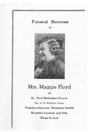 Primary view of object titled '[Funeral Program for Maggie Floyd, December 12, 1950]'.