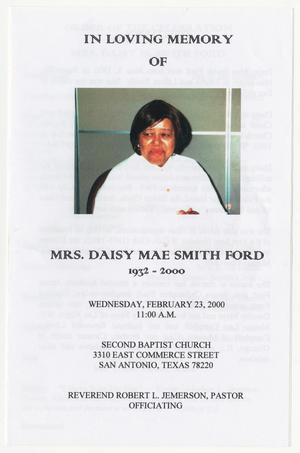 Primary view of object titled '[Funeral Program for Daisy Mae Smith Ford, February 23, 2000]'.