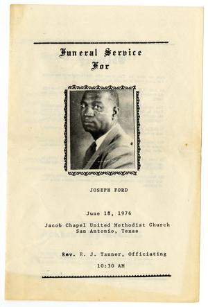 Primary view of object titled '[Funeral Program for Joseph Ford, June 18, 1976]'.