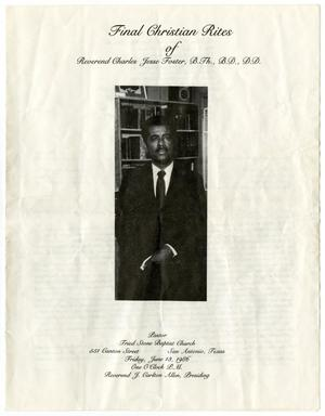 Primary view of object titled '[Funeral Program for Charles Jesse Foster, June 13, 1986]'.
