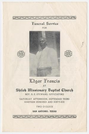 Primary view of object titled '[Funeral Program for Edgar Francis, September 3, 1966]'.
