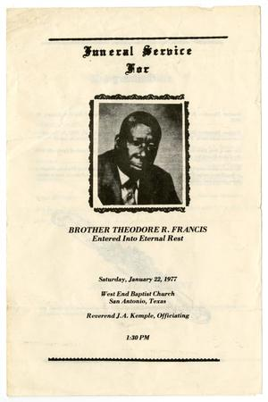 Primary view of object titled '[Funeral Program for Theodore R. Francis, January 22, 1977]'.