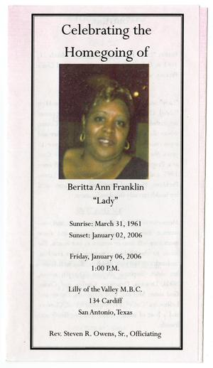 Primary view of object titled '[Funeral Program for Beritta Ann Franlin, January 6, 2006]'.
