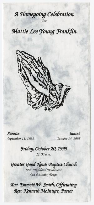Primary view of object titled '[Funeral Program for Mattie Lee Young Franklin, October 20, 1995]'.