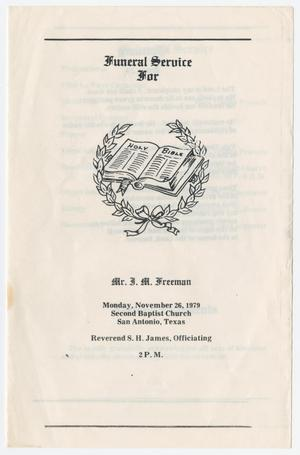 Primary view of object titled '[Funeral Program for J. M. Freeman, November 26, 1979]'.