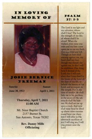 Primary view of object titled '[Funeral Program for Josie Bernice Freeman, April 7, 2011]'.