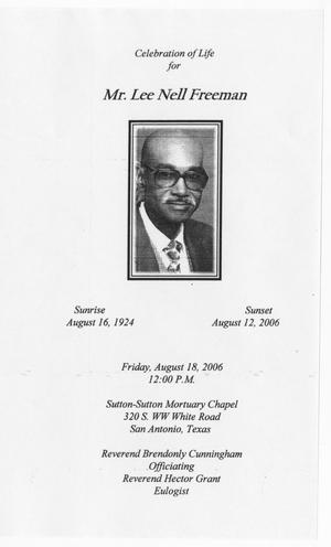 Primary view of object titled '[Funeral Program for Lee Nell Freeman, August 18, 2006]'.