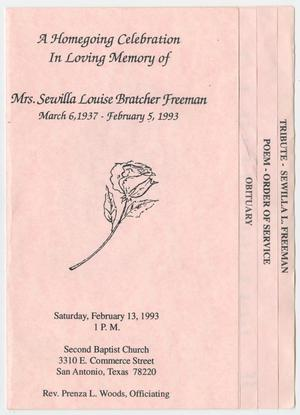 Primary view of object titled '[Funeral Program for Sewilla Louise Bratcher Freeman, February 13, 1993]'.