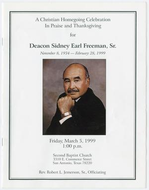 Primary view of object titled '[Funeral Program for Deacon Sideny Earl Freeman, Sr., March 5, 1999]'.