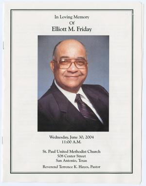 Primary view of object titled '[Funeral Program for Elliott M. Friday, June 30, 2004]'.
