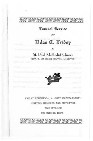 Primary view of object titled '[Funeral Program for Niles D. Friday, August 28, 1964]'.