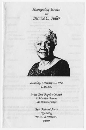 Primary view of object titled '[Funeral Program for Bernice C. Fuller, February 10, 1996]'.