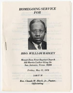 Primary view of object titled '[Funeral Program for William Hadley, May 12, 1978]'.