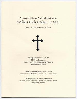 Primary view of object titled '[Funeral Program for William Hicks Hadnott, Jr., September 3, 2010]'.