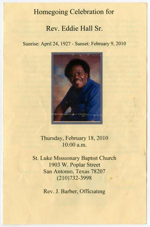 [Funeral Program for Eddie Hall, Sr., February 18, 2010]