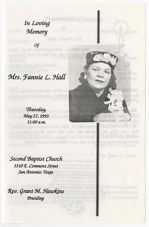 Primary view of object titled '[Funeral Program for Fannie L. Hall, May 27, 1993]'.