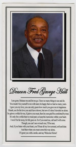 [Funeral Program for Fred George Hall, January 16, 2009]