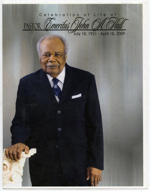 Primary view of object titled '[Funeral Program for John A. Hall, April 24, 2009]'.