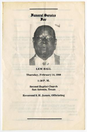 Primary view of object titled '[Funeral Program for Lem Hall, February 14, 1980]'.