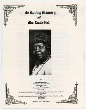 [Funeral Program for Lucille Hall, December 28, 1982]
