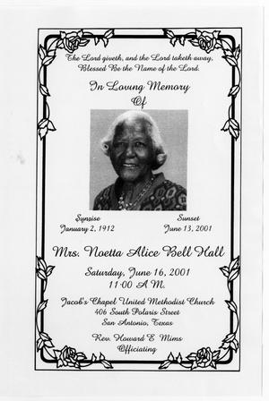 Primary view of object titled '[Funeral Program for Noetta Alice Bell Hall, June 16, 2001]'.