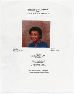 Primary view of object titled '[Funeral Program for Beverly Denise Hamilton, May 21, 2011]'.